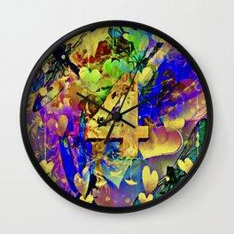 Four Dragonflies Abstract Art Wall Clock