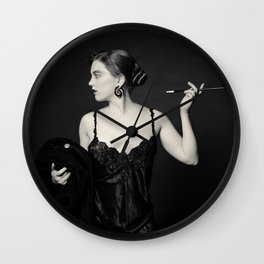"""A Noir Night Out"" - The Playful Pinup - Modern Gothic Twist on Pinup by Maxwell H. Johnson Wall Clock"