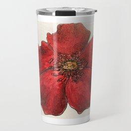 Red Winter Rose Travel Mug