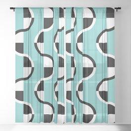 Geo Modern - Geometric Pattern Blue Black White Sheer Curtain