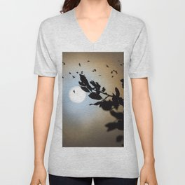 Bats in a Full Moon on Halloween Unisex V-Neck