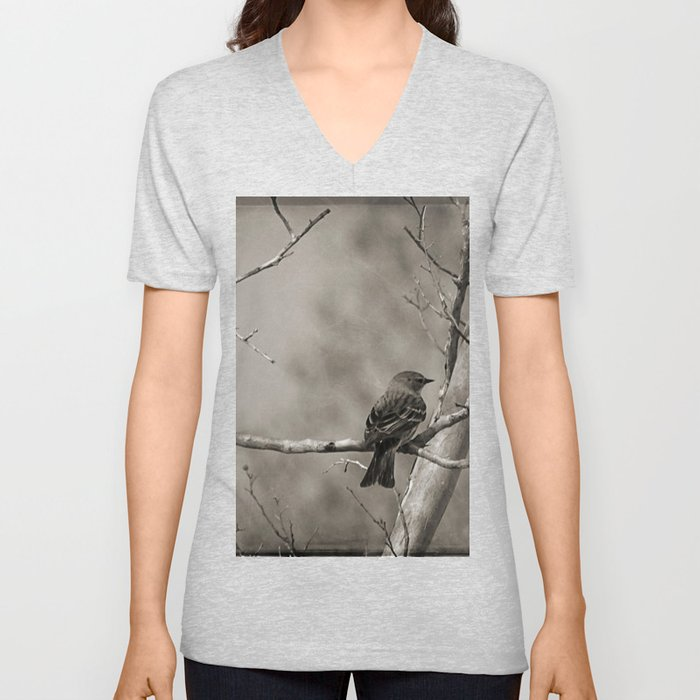 The Quest:  Black and White Bird Antiqued Unisex V-Neck