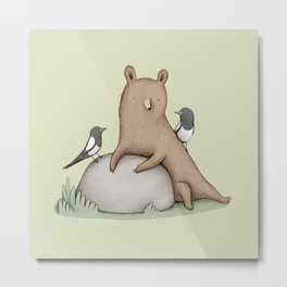 Bear & Birds Metal Print