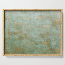 Metallic Effects Oxidized Copper Verdigris Industrial Rustic Serving Tray