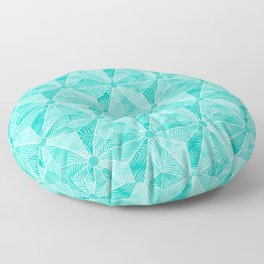 Geodesic Palm_Turquoise Floor Pillow