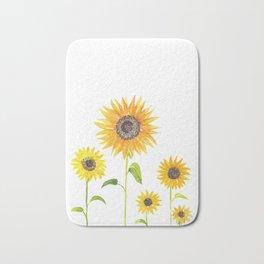 Sunflowers Watercolor Painting Bath Mat