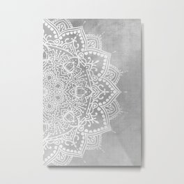 Grey Mandala Metal Print