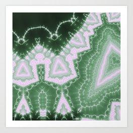 African Dream - green monochrome fractal Art Print