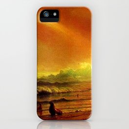 Classical Masterpiece Coastal Sunset by Albert Bierstadt iPhone Case