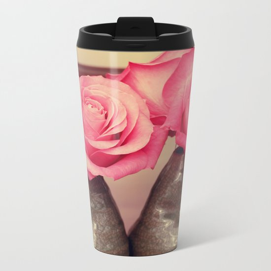 Gorgeous pink roses Metal Travel Mug