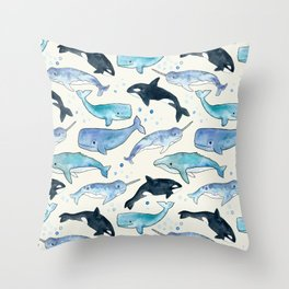 Whales, Orcas & Narwhals Throw Pillow