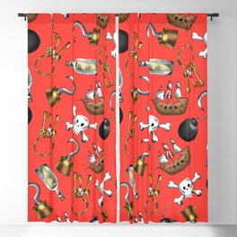 Swashbuckling Pirate Pattern on Red Blackout Curtain