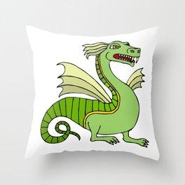Green Chinese Dragon Throw Pillow