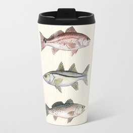 """Inshore Slam!"" by Amber Marine ~ Redfish, Snook, & Trout Watercolor Illustration, (Copyright 2013) Travel Mug"