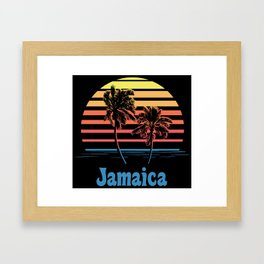 Jamaica Sunset Palm Trees Framed Art Print