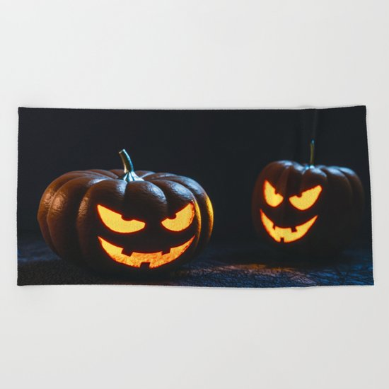 Halloween Pumpkin Lantern Beach Towel