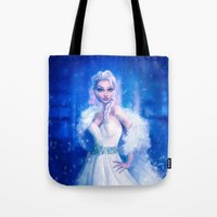 frozen elsa Tote Bags featuring Elsa by Joe Roberts
