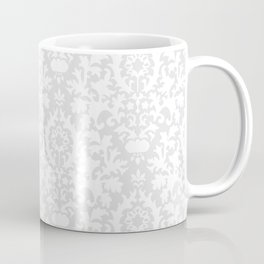 Vintage chic gray white abstract floral damask pattern Coffee Mug