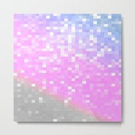 Pink Lavender Gray Pixels Metal Print