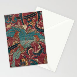 Flowery Arabic Rug I // 17th Century Colorful Plum Red Light Teal Sapphire Navy Blue Ornate Pattern Stationery Cards