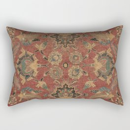 Flowery Boho Rug V // 17th Century Distressed Colorful Red Navy Blue Burlap Tan Ornate Accent Patter Rectangular Pillow