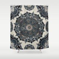 islam Shower Curtains featuring Silver Mandala by Mantra Mandala