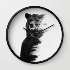 Observing Bear (black & white version) Wall Clock