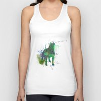 pitbull Tank Tops featuring Green Pitbull by Candice Boux
