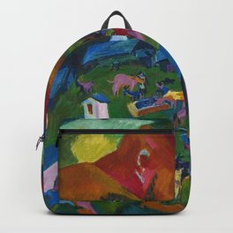 Return of the Animals Mountain Village Landscape painting by Ernst Ludwig Kirchner Backpack