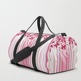 Red butterflies and pink striped leaves on a white background . Duffle Bag