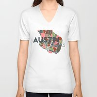 texas V-neck T-shirts featuring Austin Texas + by Studio Tesouro