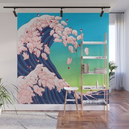Christmas Baby Pigs The Great Wave in Blue Wall Mural