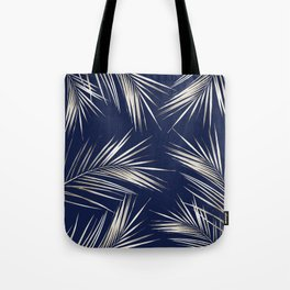White Gold Palm Leaves on Navy Blue Tote Bag