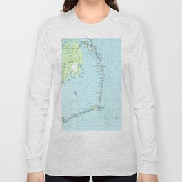 Vintage Southern Outer Banks Map (1957) Long Sleeve T-shirt