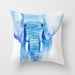 Majestic Blue Watercolor Elephant Throw Pillow