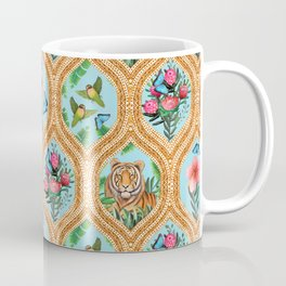 Tiger , protea, hibiscus, palm ogee pattern in watercolor Coffee Mug