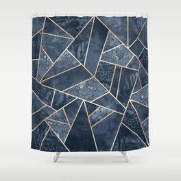 Soft Dark Blue Stone Shower Curtain