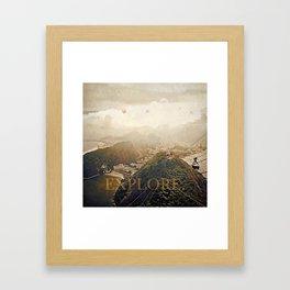 explore. golden Framed Art Print