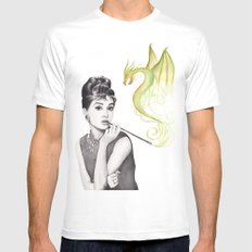 Audrey Hepburn Smoking and Dragon Mens Fitted Tee MEDIUM White