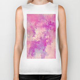 Abstract pink ivory teal watercolor brushstrokes pattern Biker Tank