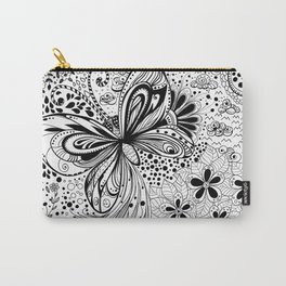 Butterfly and flowers, doodles Carry-All Pouch