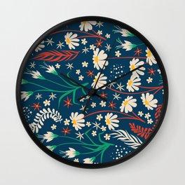 Mid Century Summer Floral Daisy Pattern Wall Clock