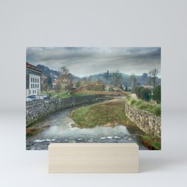 The river Sella and a bridge Mini Art Print