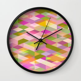 Rhapsody Jewelled Pink Garden Modern Abstract Geo Wall Clock