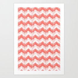 living coral forest chevron Art Print