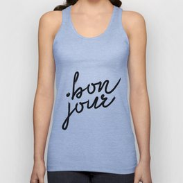 Bon Jour, French Quotes, French Prints, French Wall Prints, French Unisex Tank Top