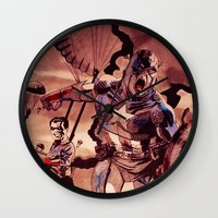 captain swan Wall Clocks featuring captain by Flo Zero