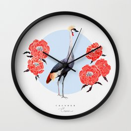 Grey Crowned Crane Wall Clock