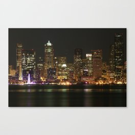 Seattle Skyline - Alki (Pink Spinning Wheel) Canvas Print