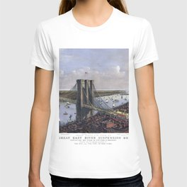 NEW YORK  East River BRIDGE city old map Father Day art print poster T-shirt